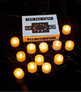 Set of 12 Timer Amber LED Tea Lights