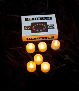 Set of 6 Timer Amber LED Tea Lights