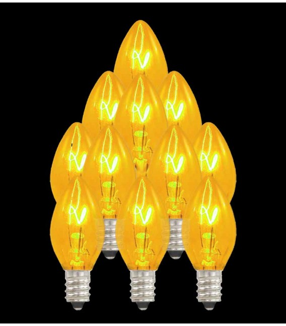 Set of 13 Yellow Replacement C7 Light Bulbs
