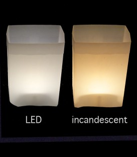 Comparison of LED bulb to incandescent bulb
