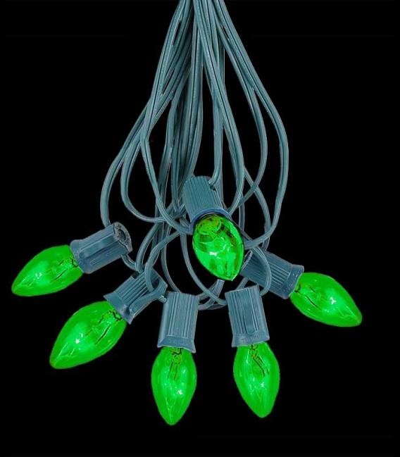 6 Socket Green Electric Light Strings, Green Bulbs