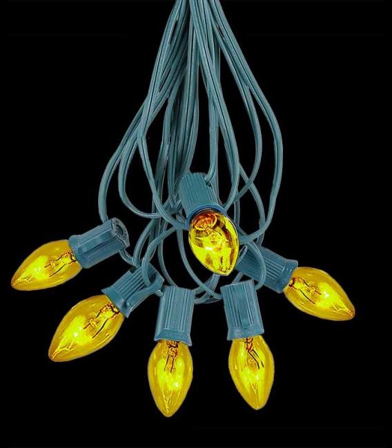 6 Socket Green Electric Light Strings, Yellow Bulbs