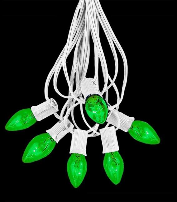 6 Socket White Electric Light Strings, Green Bulbs