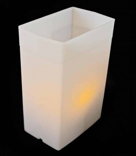 Individual White Luminary lit with amber LED Tea Light