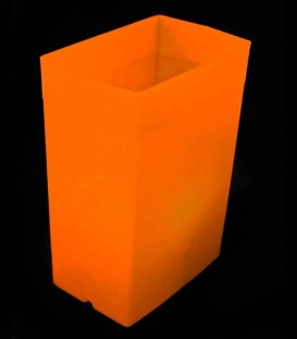 Individual Orange Luminary lit with warm white LED Tea Light