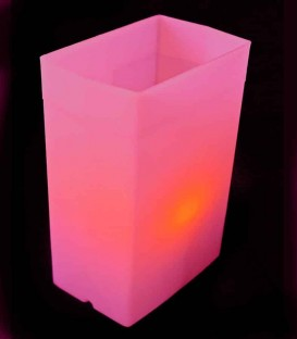 Individual Pink Luminary lit with warm white LED Tea Light