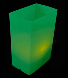 Individual Green Luminary lit with warm white LED Tea Light