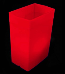 Individual Red Luminary lit with warm white LED Tea Light