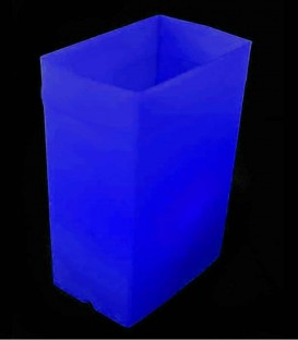 Individual Blue Luminary lit with warm white LED Tea Light