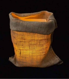 Loose Burlap Bag at Night