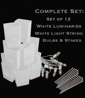 Set of 12 White Luminaries, White Light String, Bulbs & Stakes
