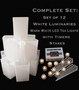 Set of 12 White Luminaries, Warm White LED Tea Lights & Stakes