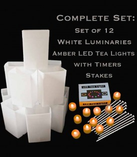 Set of 12 White Luminaries, Amber LED Tea Lights & Stakes