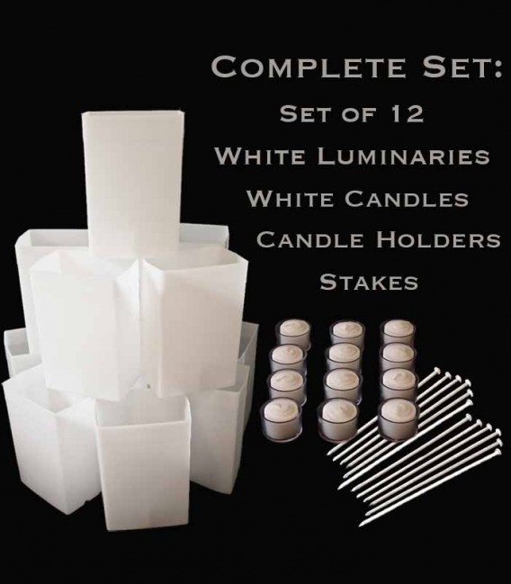 Set of 12 White Luminaries, Candles, Holders & Stakes
