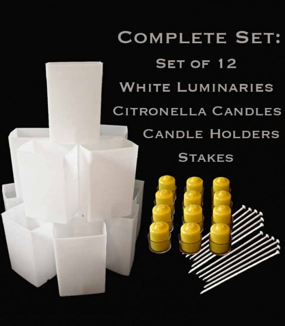 Set of 12 White Luminaries, Citronella Candles, Holders & Stakes