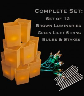 Set of 12 Brown Luminaries, Green Light String, Bulbs & Stakes