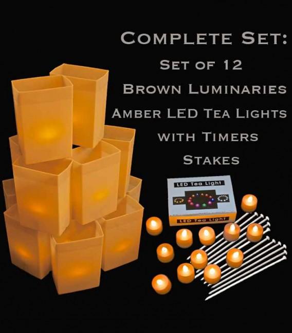 Set of 12 Brown Luminaries, Amber LED Tea Lights & Stakes