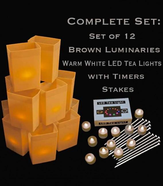 Set of 12 Brown Luminaries, Warm White LED Tea Lights & Stakes