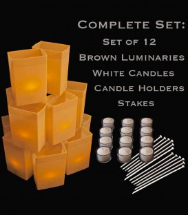 Set of 12 Brown Luminaries, White Candles, Holders & Stakes