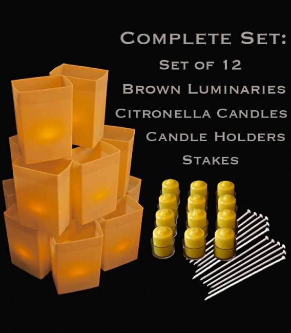 Set of 12 Brown Luminaries, Citronella Candles, Holders & Stakes