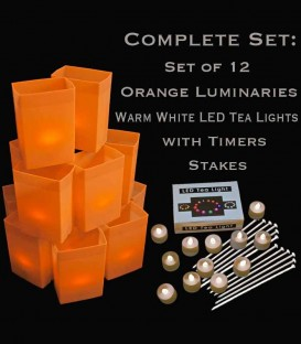 Set of 12 Orange Luminaries, Warm White LED Tea Lights & Stakes