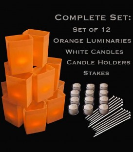 Set of 12 Orange Luminaries, White Candles, Holders & Stakes