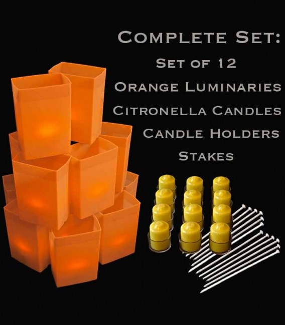 Set of 12 Orange Luminaries, Citronella Candles, Holders & Stakes