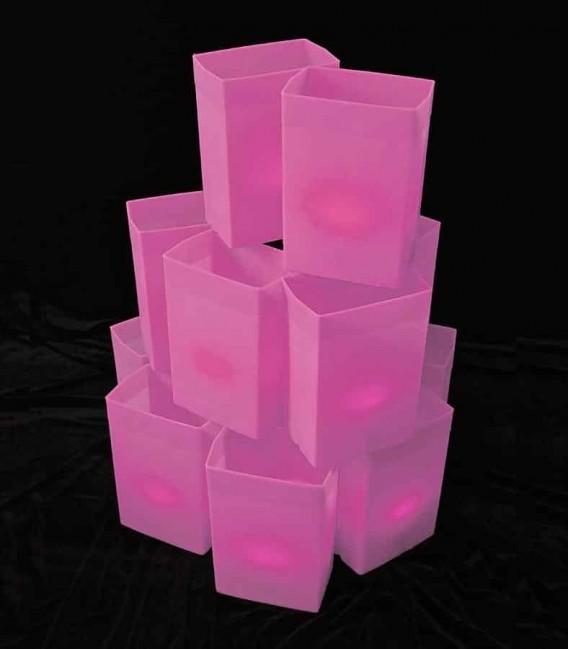 Set of 12 Pink Luminaries