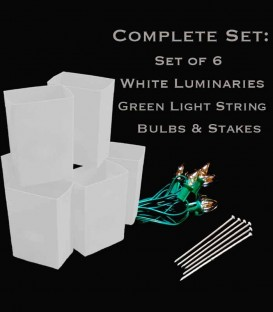 Set of 6 White Luminaries, Green Light String, Bulbs & Stakes