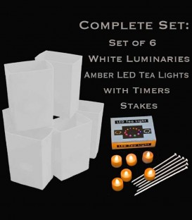 Set of 6 White Luminaries, Amber LED Tea Lights & Stakes