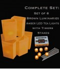 Set of 6 Brown Luminaries, LED Tea Lights & Stakes