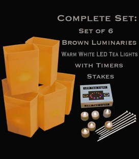 Set of 6 Brown Luminaries, Warm White LED Tea Lights & Stakes