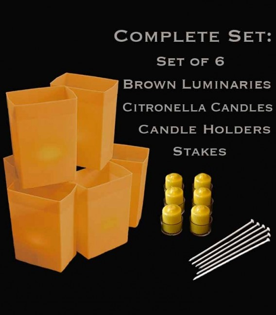 Set of 6 Brown Luminaries, Citronella Candles, Holders & Stakes