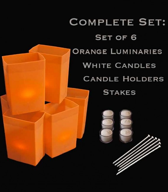 Set of 6 Orange Luminaries, White Candles, Holders & Stakes