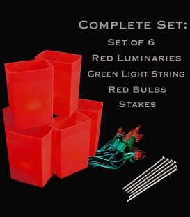 Set of 6 Red Luminaries, Green Light String, Red Bulbs & Stakes