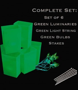 Set of 6 Green Luminaries, Green Light String, Green Bulbs, Stakes