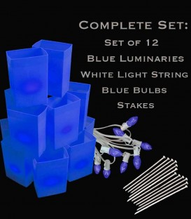 Set of 12 Blue Luminaries, White Light String, Blue Bulbs & Stakes