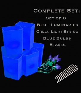 Set of 6 Blue Luminaries, Green Light String, Blue Bulbs & Stakes