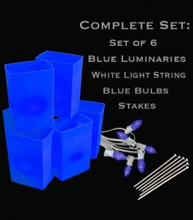 Set of 6 Blue Luminaries, White Light String, Blue Bulbs & Stakes