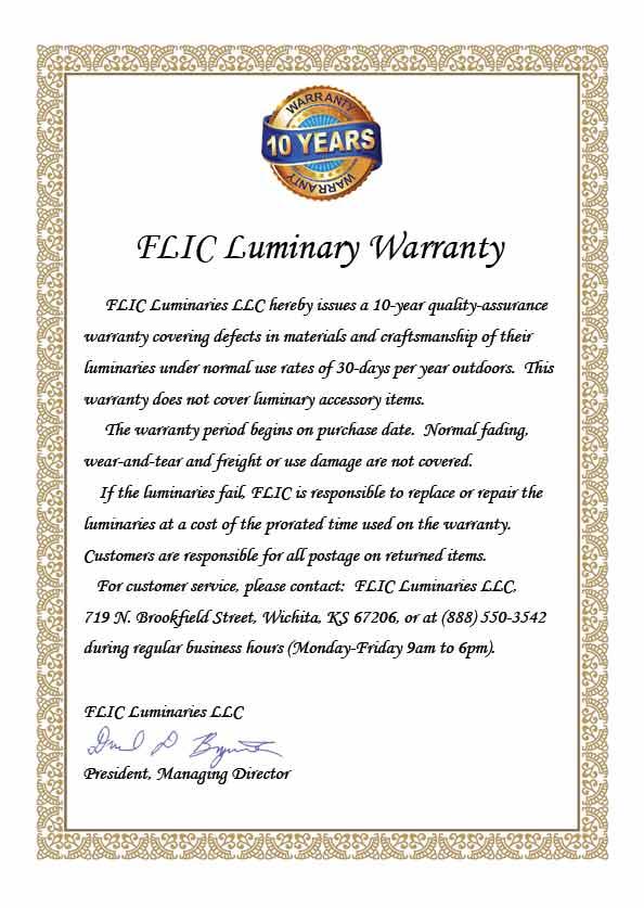 FLIC Luminary Warranty Certificate
