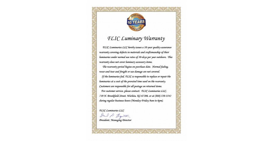 FLIC Upgrades Luminaries from a 5-year to 10-year Warranted Product!